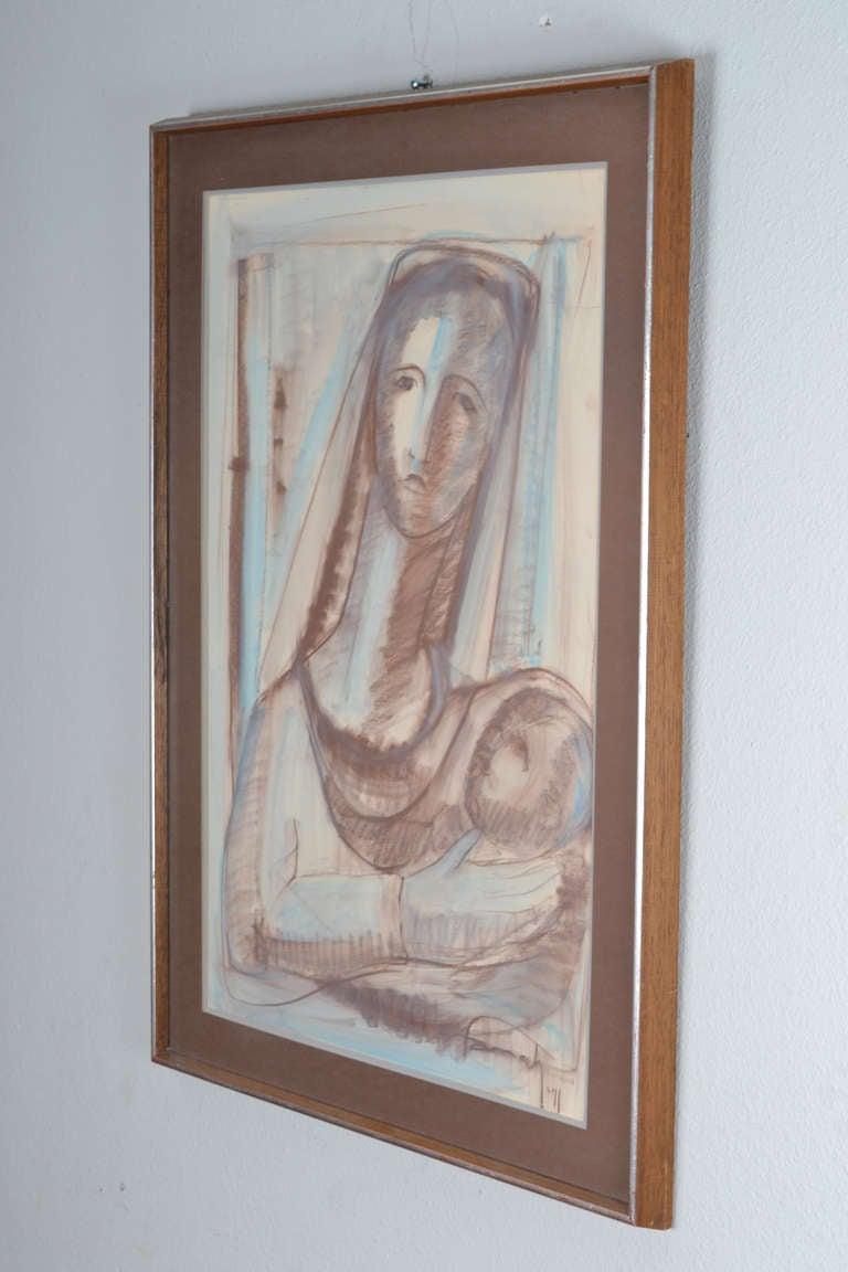 American Farrah Fawcett Original Pastel Painting, Signed For Sale