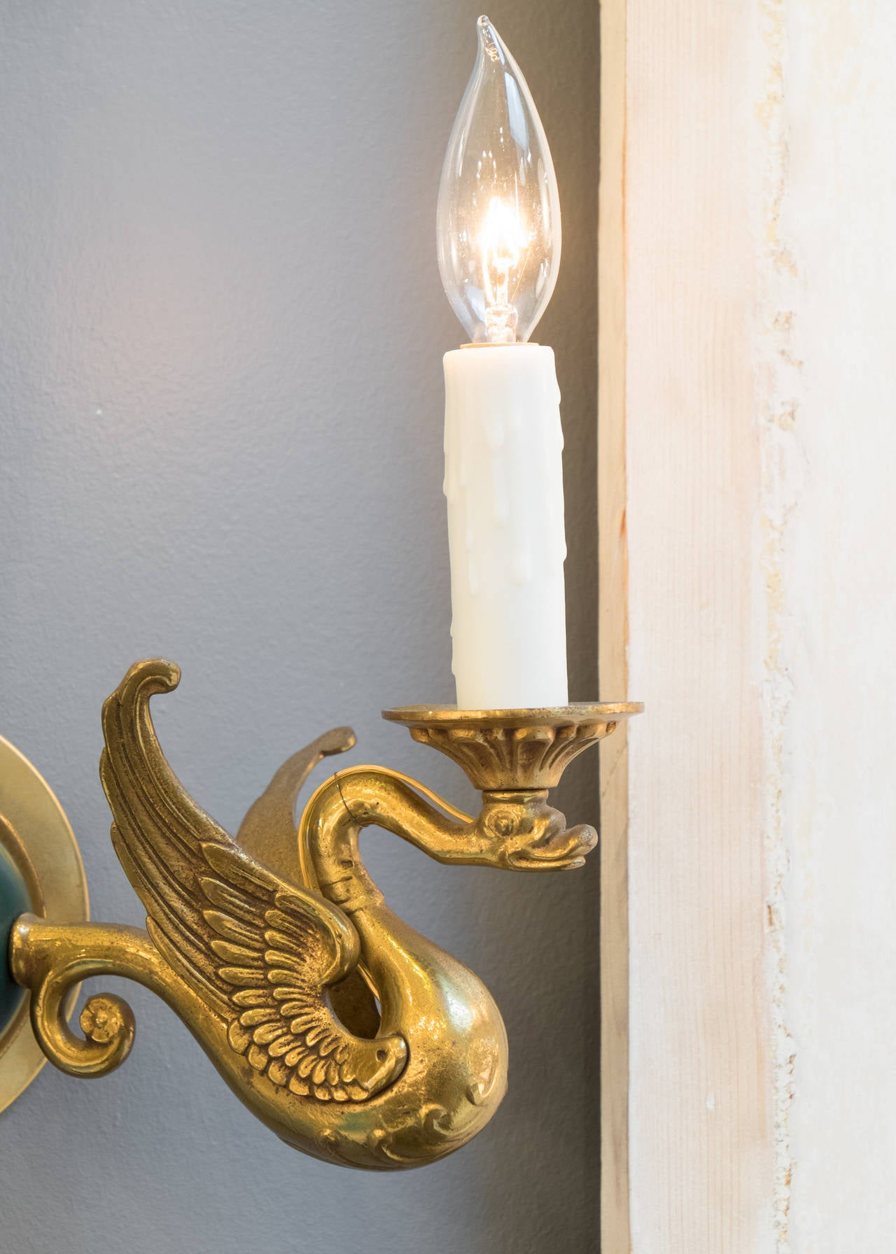 Magnificent Empire Bronze Swan Wall Sconces At 1stdibs