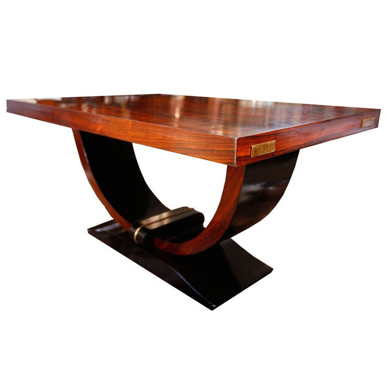 Stunning french rose and ebonized rosewood art deco center table at 1stdibs - Deco table rose ...
