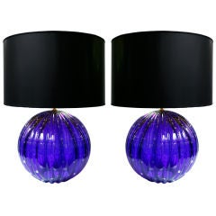 Pair of Vintage Cobalt blue Murano Glass Lamps