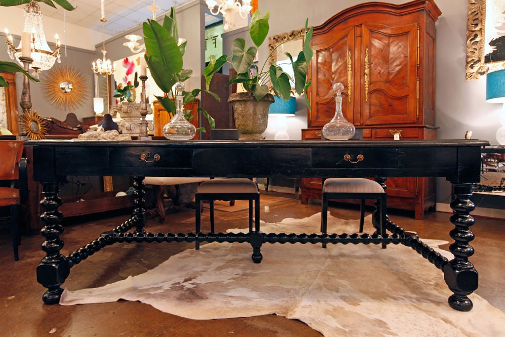 Exceptional Renaissance Style Lawyers Desk From Lyon Two Drawers On Each Side Gorgeous Baroque
