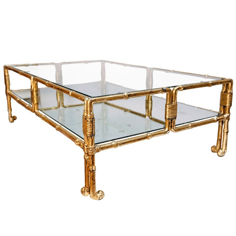 French Gold Coffee Table: Rare French Gold Leafed And Forged Iron Bamboo Coffee