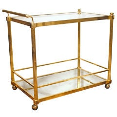 Elegant French vintage Brass Bar Cart by Maison Charles