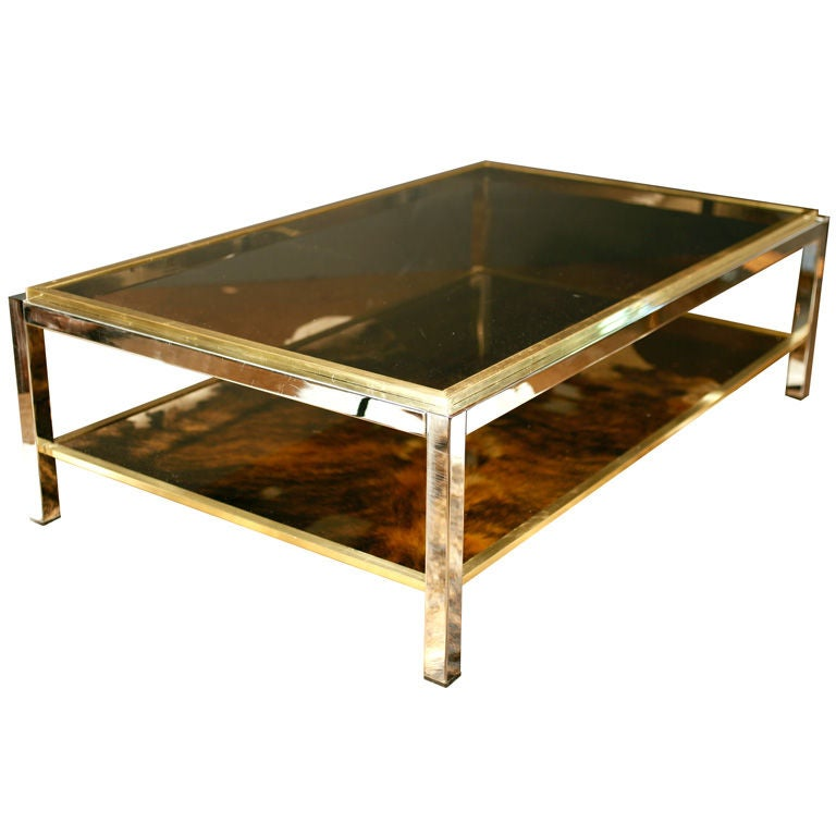 Important Vintage Chrome Brass And Smoked Glass Coffee Table At 1stdibs