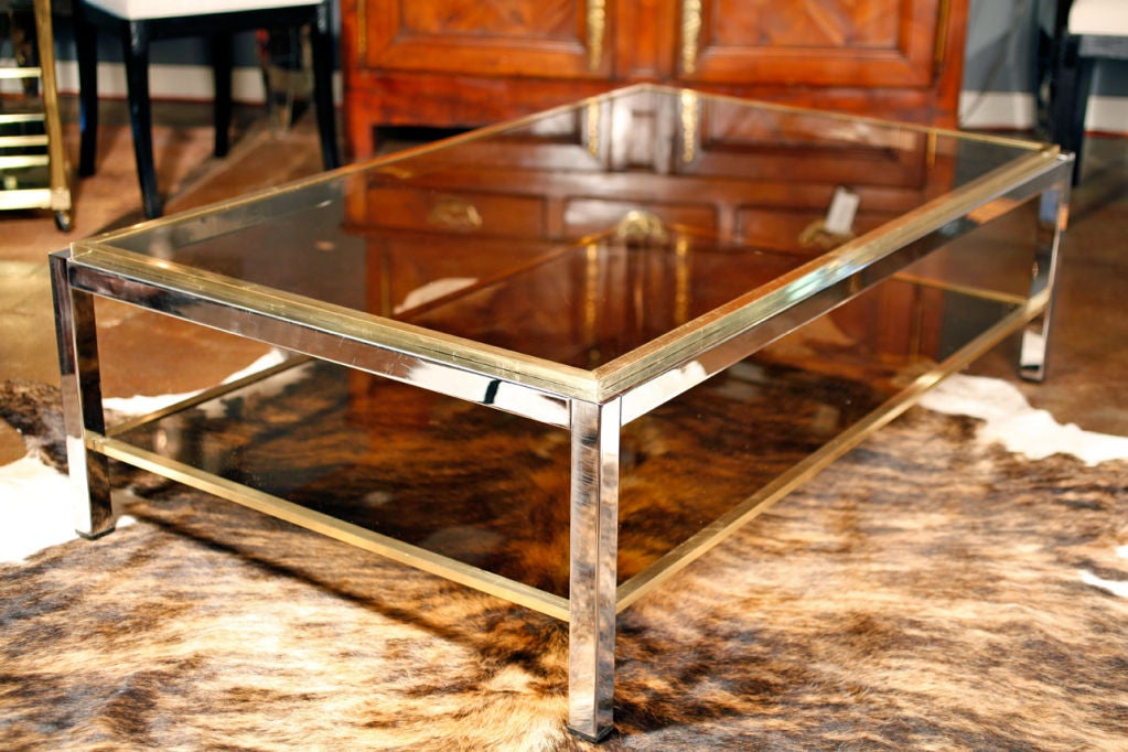 Important Vintage Chrome, Brass, And Smoked Glass Coffee Table 2