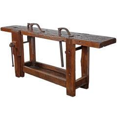 French Antique Solid Chestnut Carpenter's Work Bench