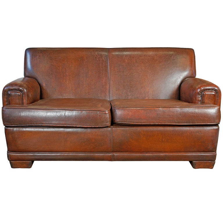 French Vintage Leather Sofa at 1stdibs