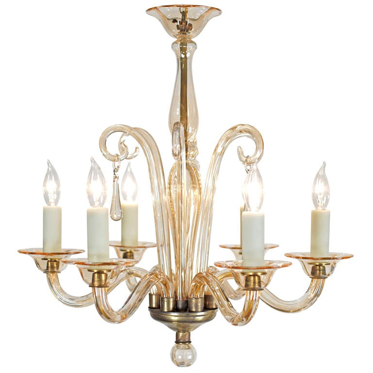 Murano vintage blown glass chandelier at 1stdibs Blown glass chandelier