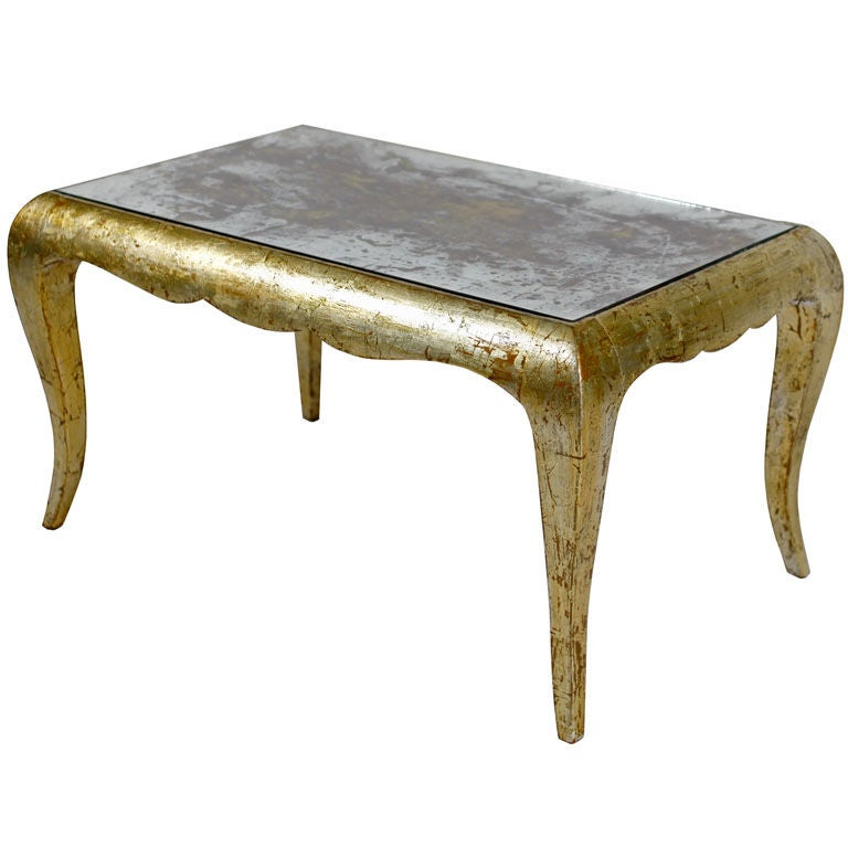 french gold leafed and patined mirror coffee table at 1stdibs