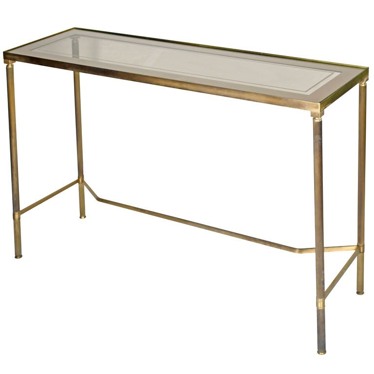 French Vintage Brass and Glass Console Table
