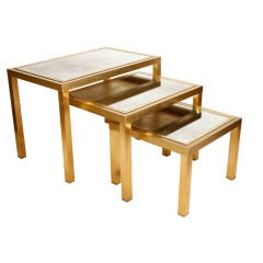 French Modernist Gilt Brass and Antique Mirror Nesting Tables