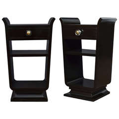 French Art Deco Period Ebonized Side Tables