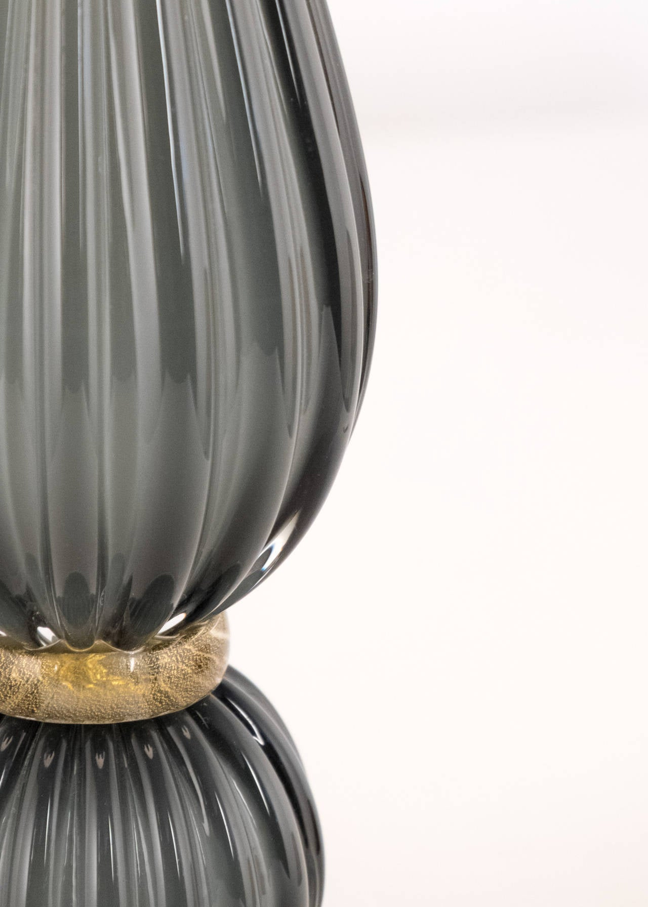 Pair of Gray Murano Glass Lamps For Sale 1