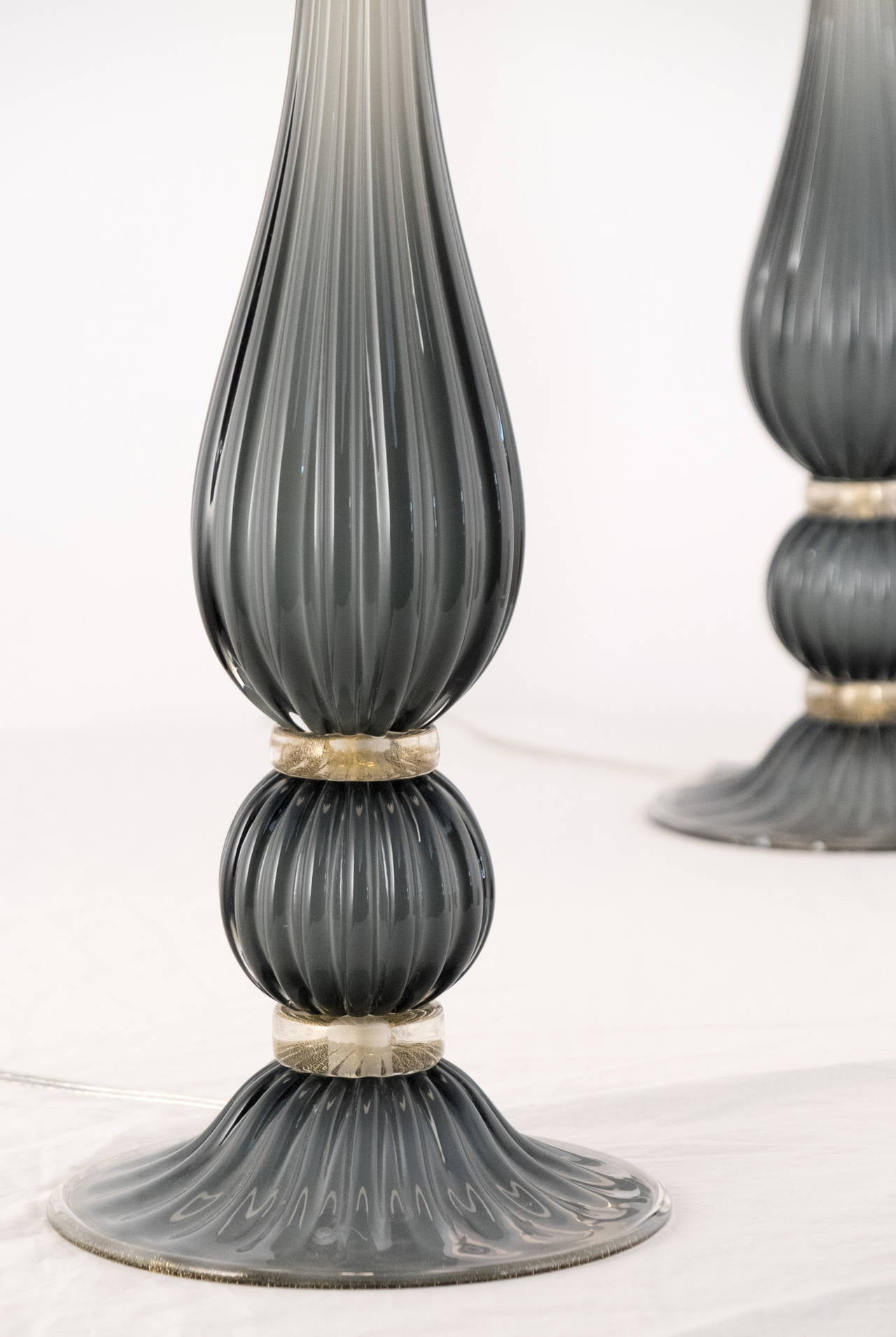 Modern Pair of Gray Murano Glass Lamps For Sale