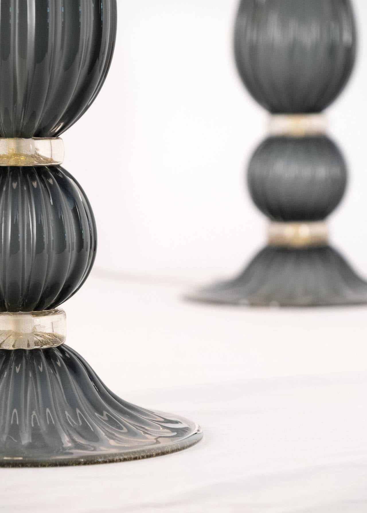 Pair of Gray Murano Glass Lamps For Sale 3
