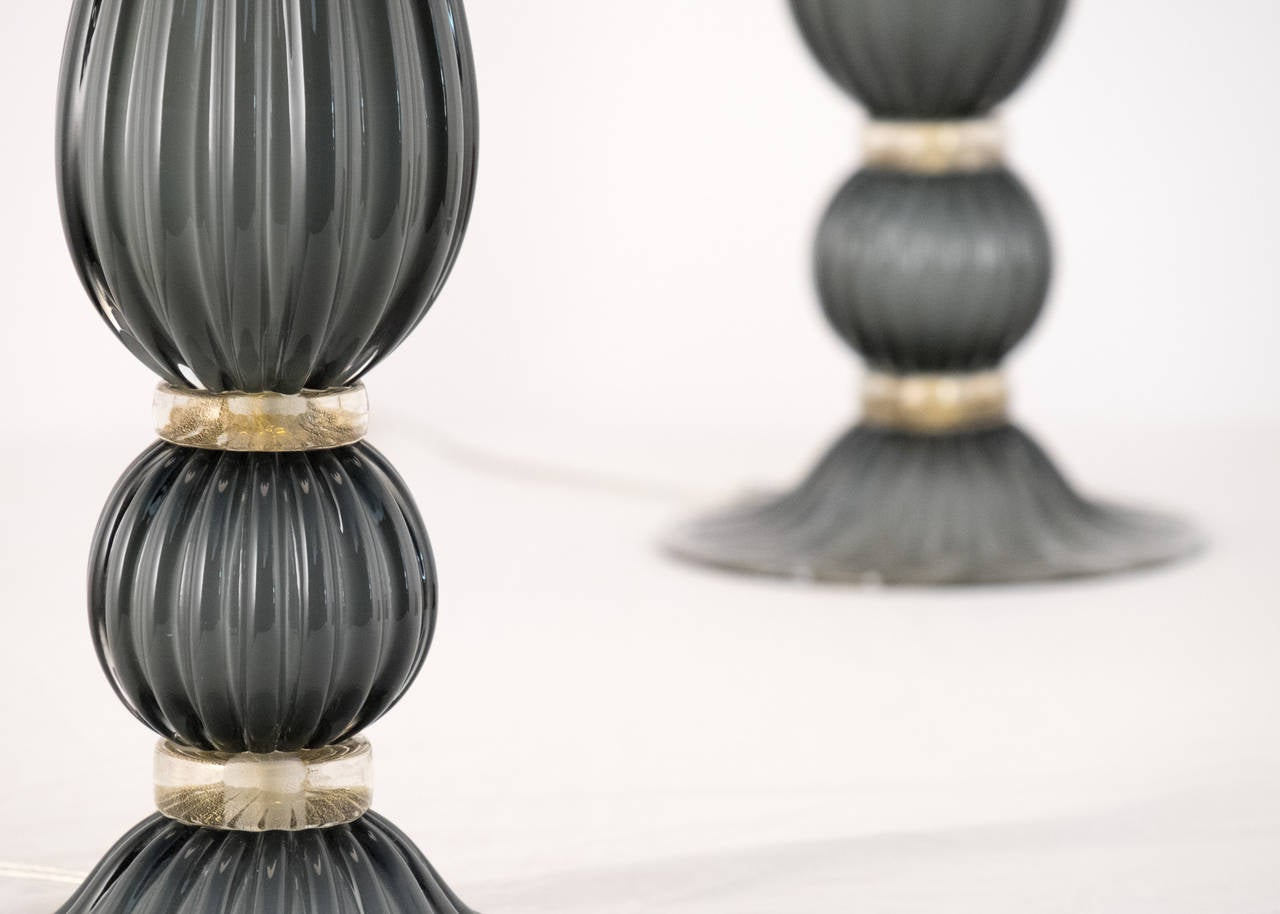 Pair of Gray Murano Glass Lamps For Sale 2