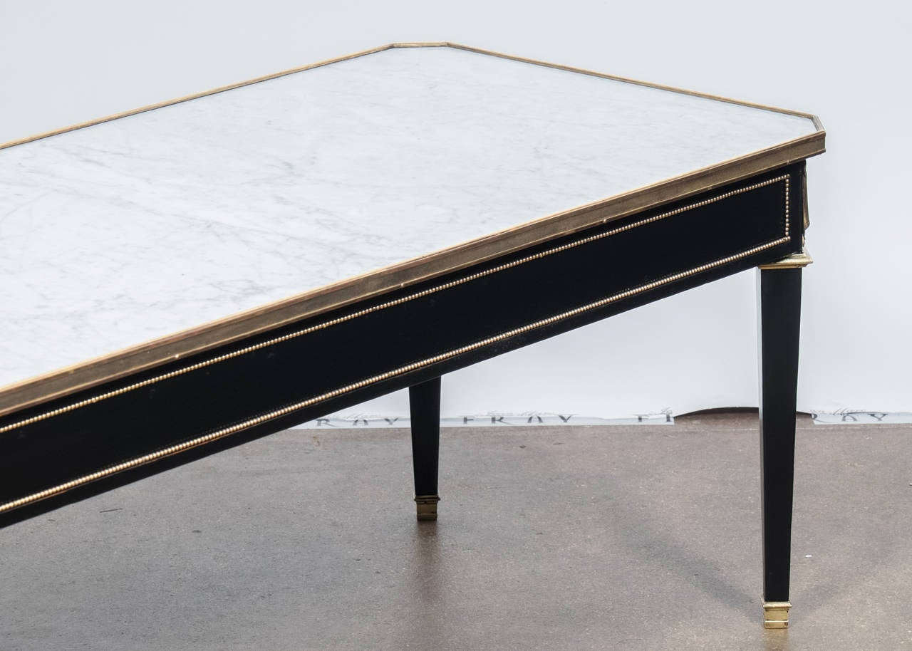 french directoire carrara marble top coffee table at 1stdibs. Black Bedroom Furniture Sets. Home Design Ideas