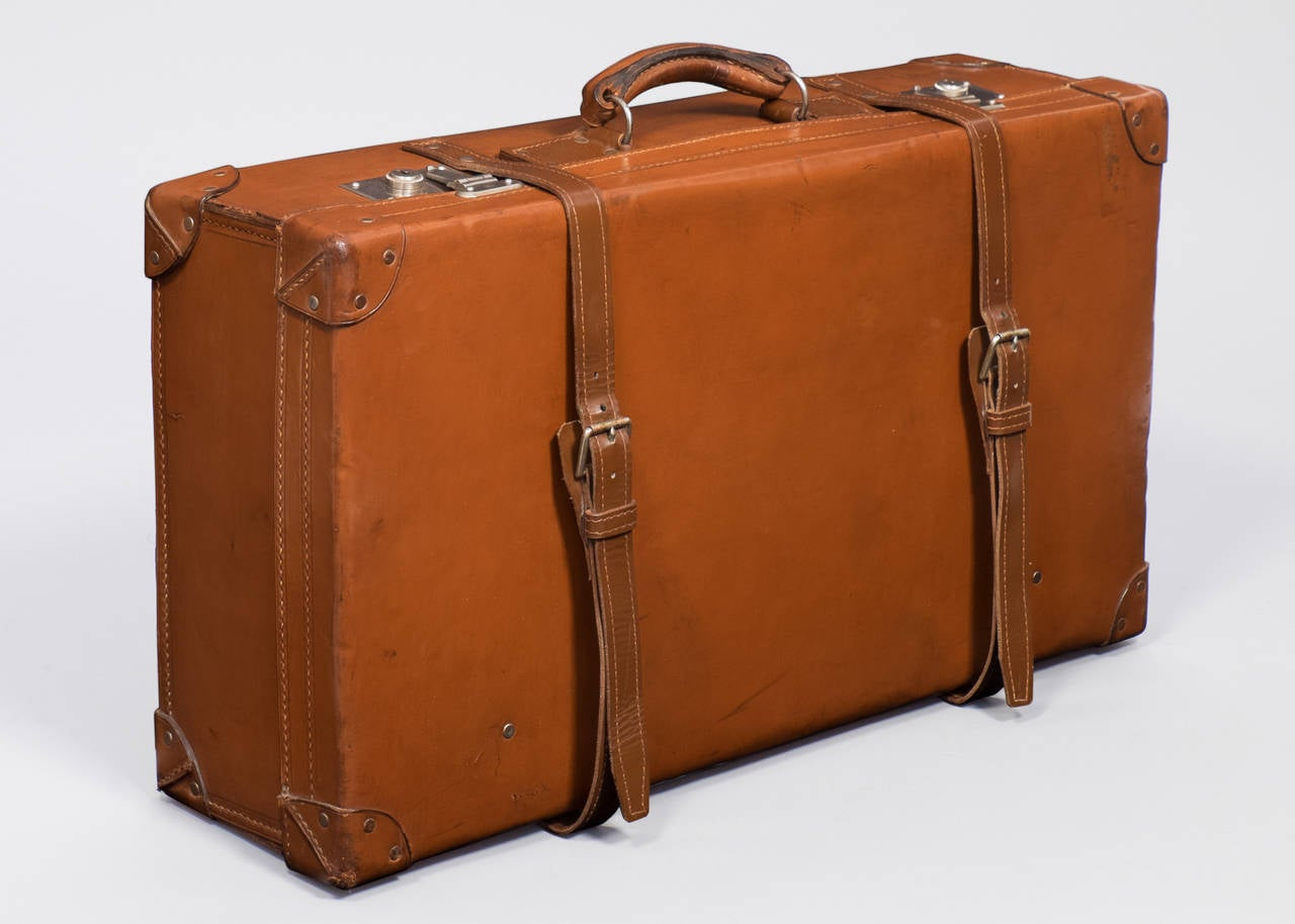 French vintage leather suitcase for sale at 1stdibs - Vintage suitcase ...