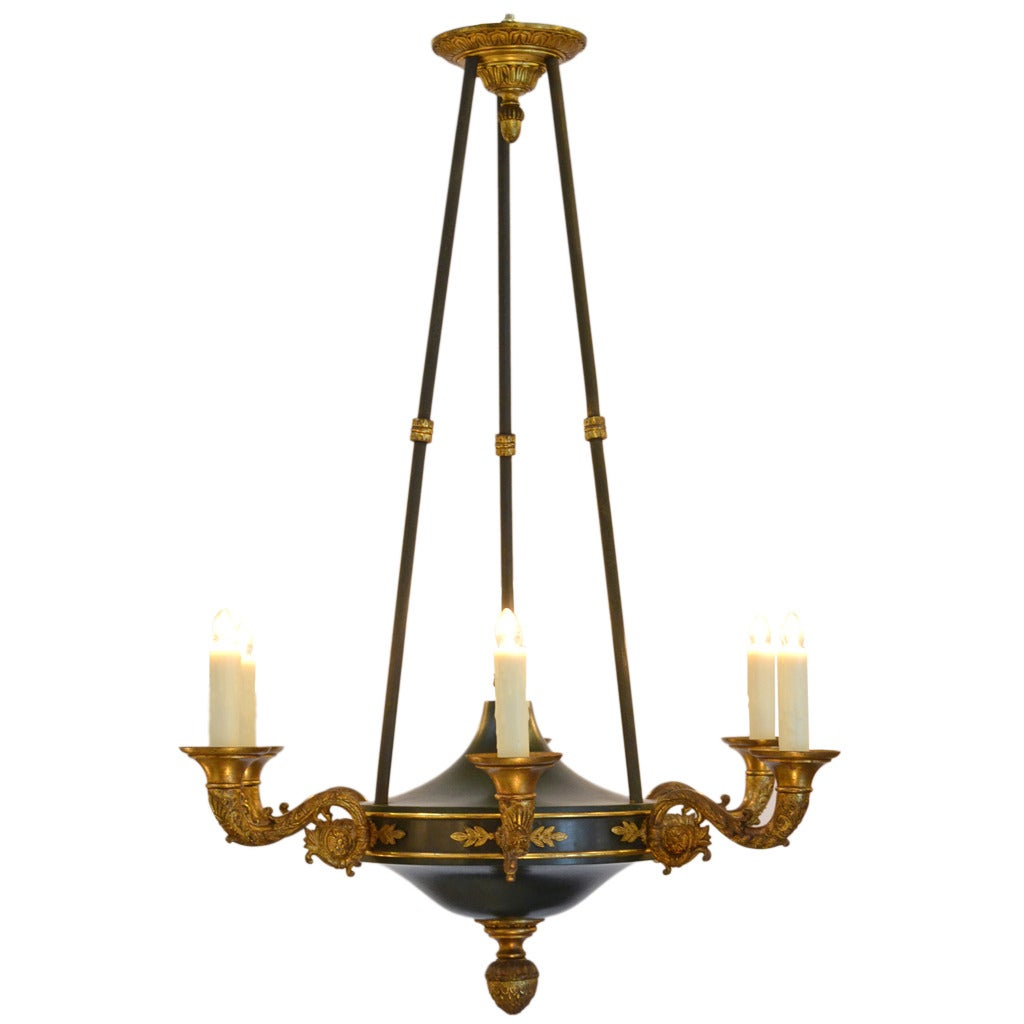 French Empire Style Tole And Bronze Chandelier At 1stdibs