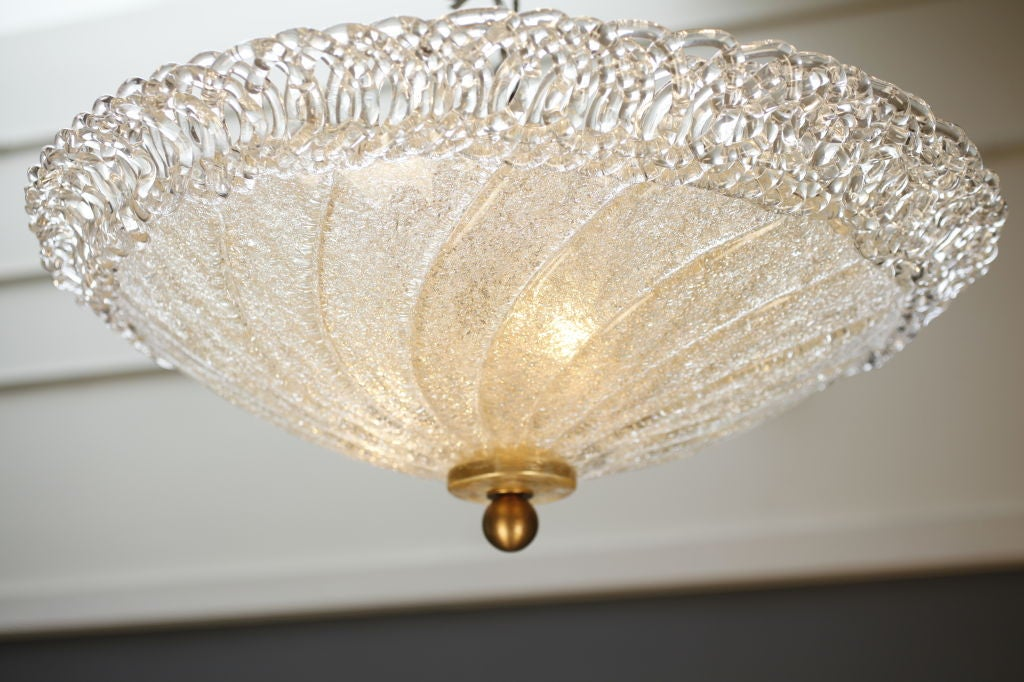 """Wonderful vintage Italian Murano glass ceiling fixture, rewired for the US. We love the clear glass """"braided"""" edging on this handblown graniglia glass light."""