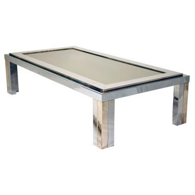 Chrome Brass and Glass Coffee Table at 1stdibs
