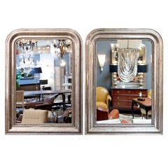 Pair of Louis Philippe Silver-Leaf Mirrors