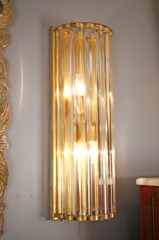 Glass Tube Wall Lights : Murano Glass Tubes and Brass Sconces at 1stdibs