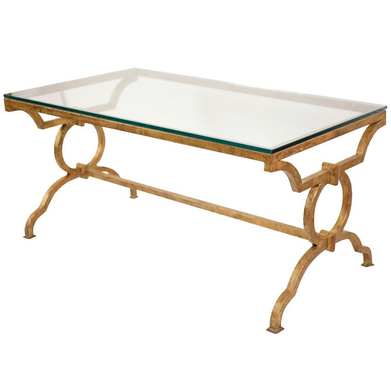 "French Gold Coffee Table: French ""Arbus"" Style Gold Leafed Iron Coffee Table At 1stdibs"