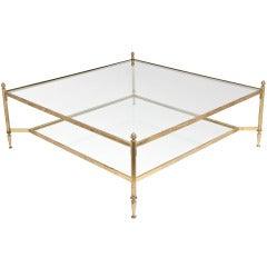 Grand Maison Bagues Art Deco Gilt Brass & Glass Coffee Table