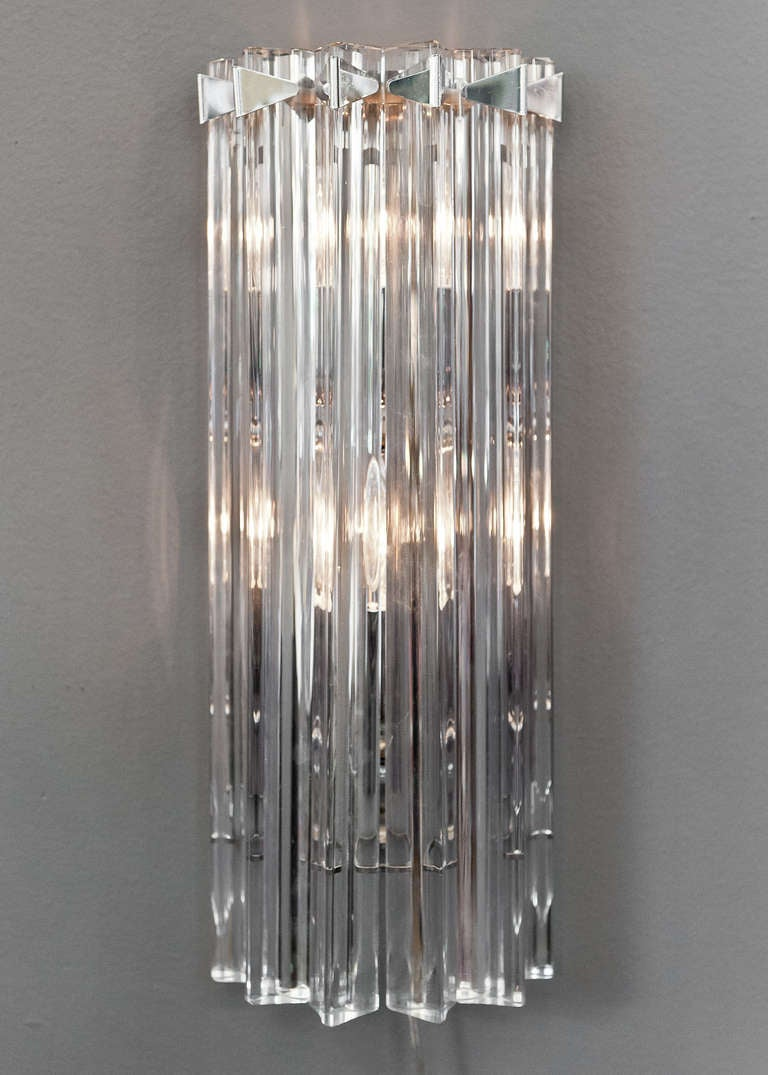 Wall Sconces With Glass : Pair of Murano Glass Wall Sconces by Venini For Sale at 1stdibs