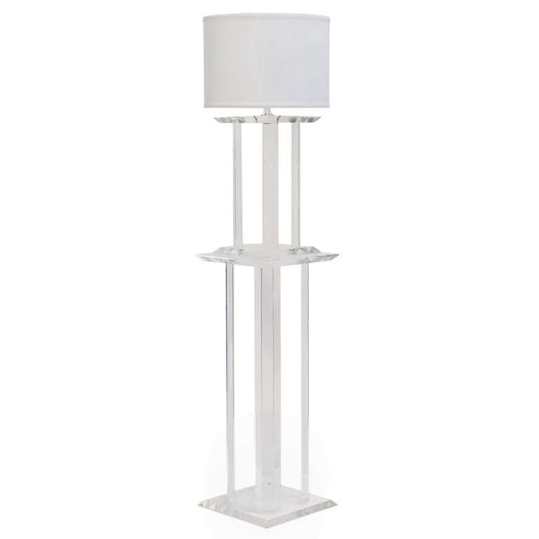 Vintage Lucite Pedestal with Lamp