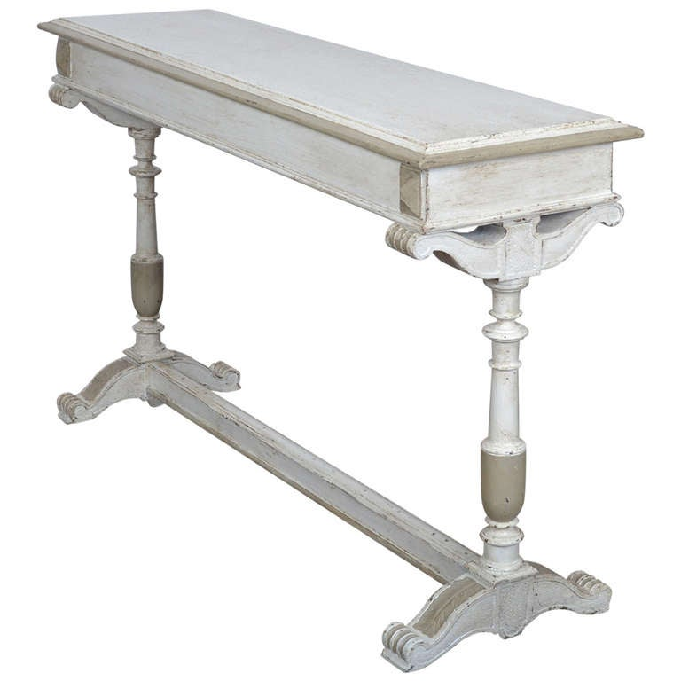 French renaissance painted console table at 1stdibs for Painted foyer tables