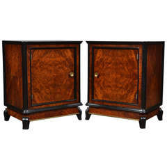 Austrian Art Deco Pair of Burled Walnut Side Tables
