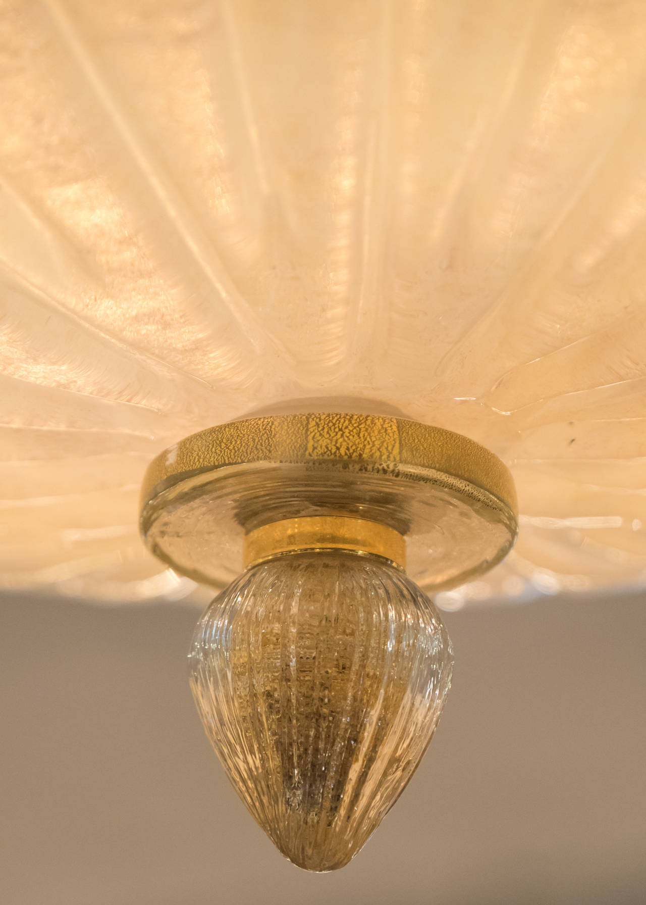 Gold Leaf Murano Glass Ceiling Fixture For Sale