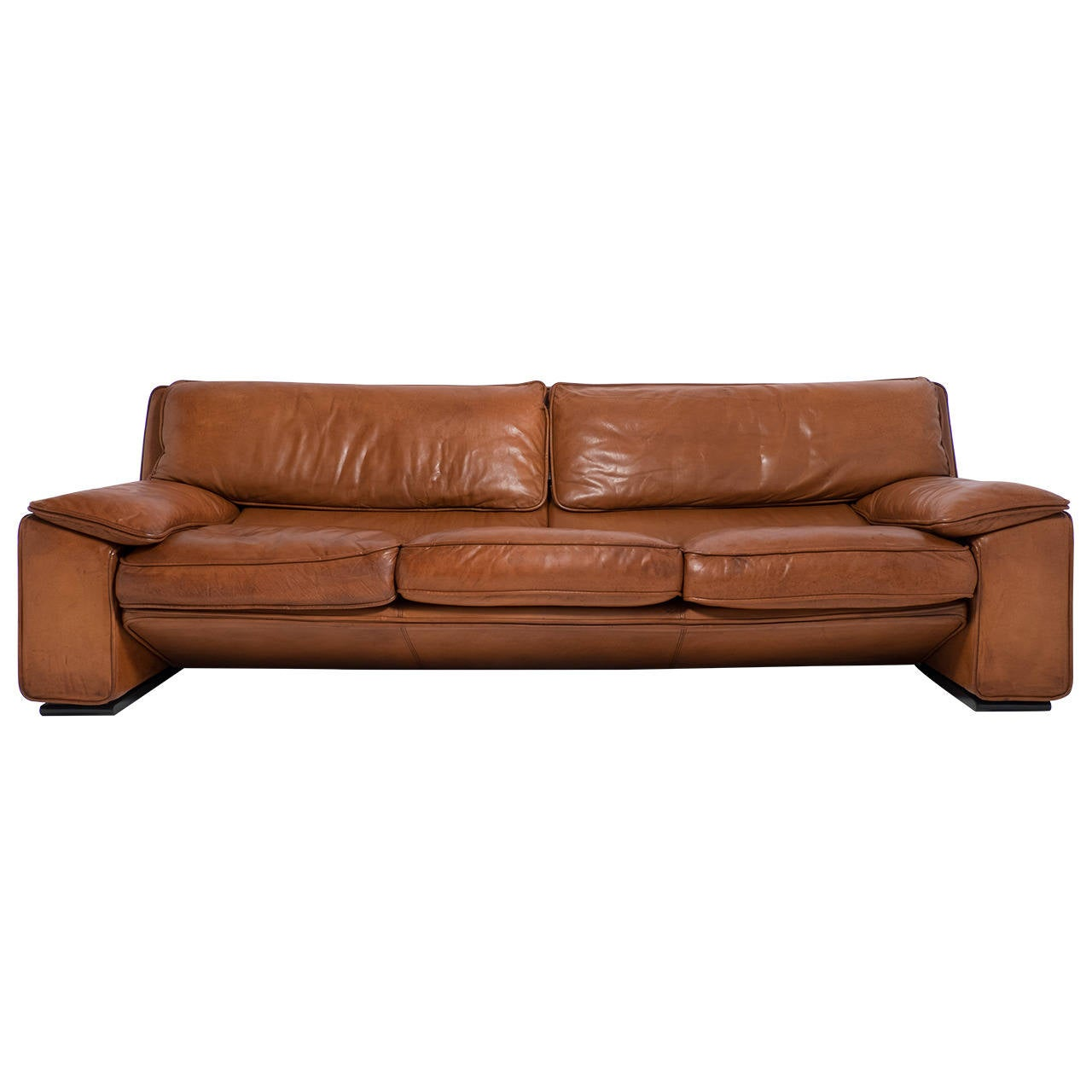 superb italian vintage leather sofa by ferrucio brunati at 1stdibs. Black Bedroom Furniture Sets. Home Design Ideas