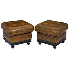 Vintage Pair of Leather Ottomans