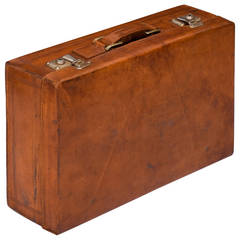 French Vintage Leather Briefcase or Suitcase