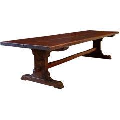 Rare Portuguese Mahogany Top Dining Table