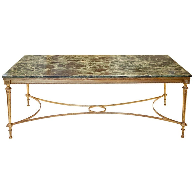 French Art Deco Brass And Marble Coffee Table At 1stdibs