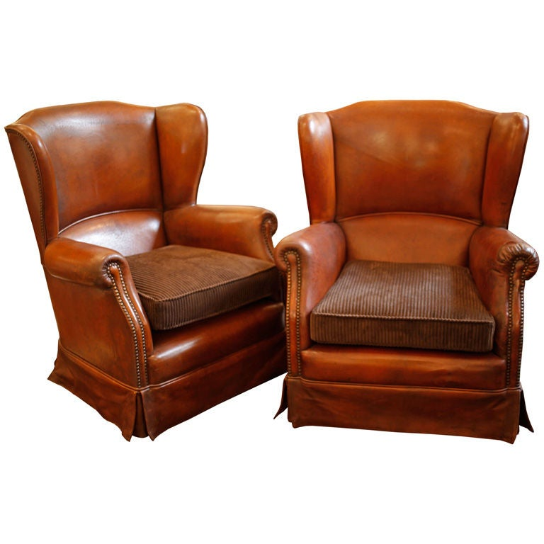 Italian Leather Wingback Armchairs At 1stdibs