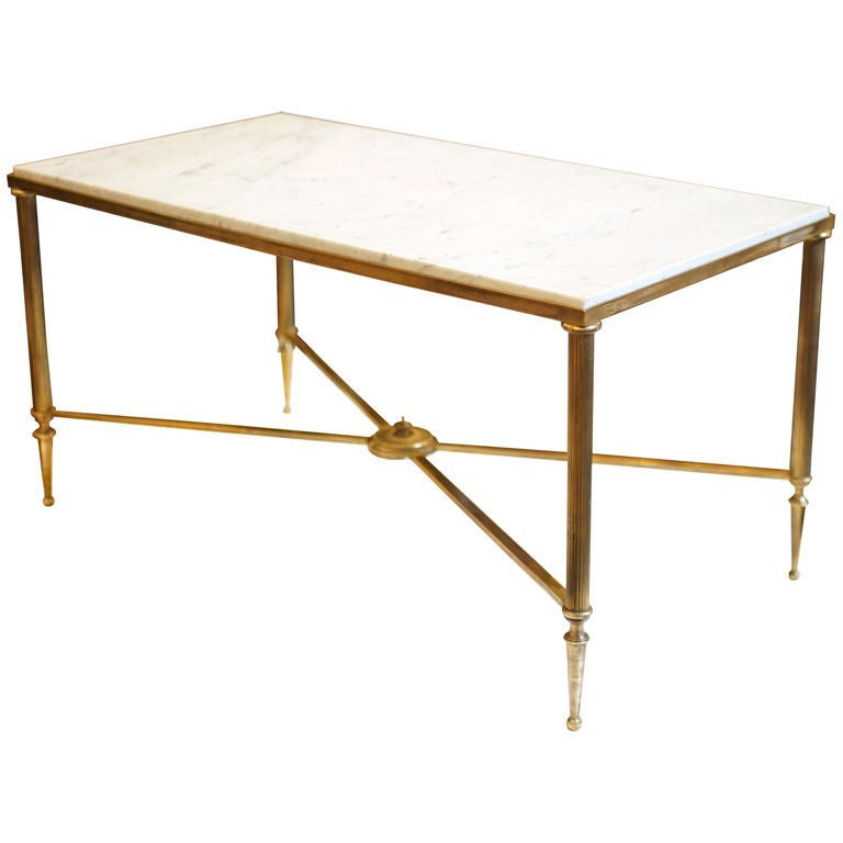 French Marble Top Brass Coffee Table 1