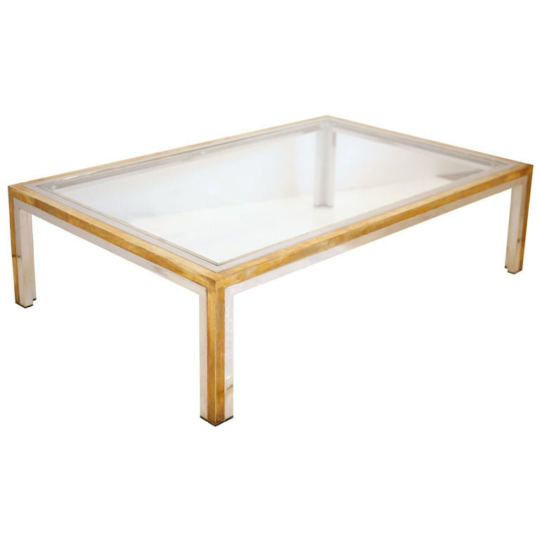 Italian Vintage Chrome Brass And Glass Coffee Table At 1stdibs