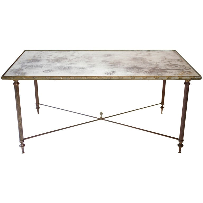 French Art Deco Brass and Mirrored Glass Coffee Table at