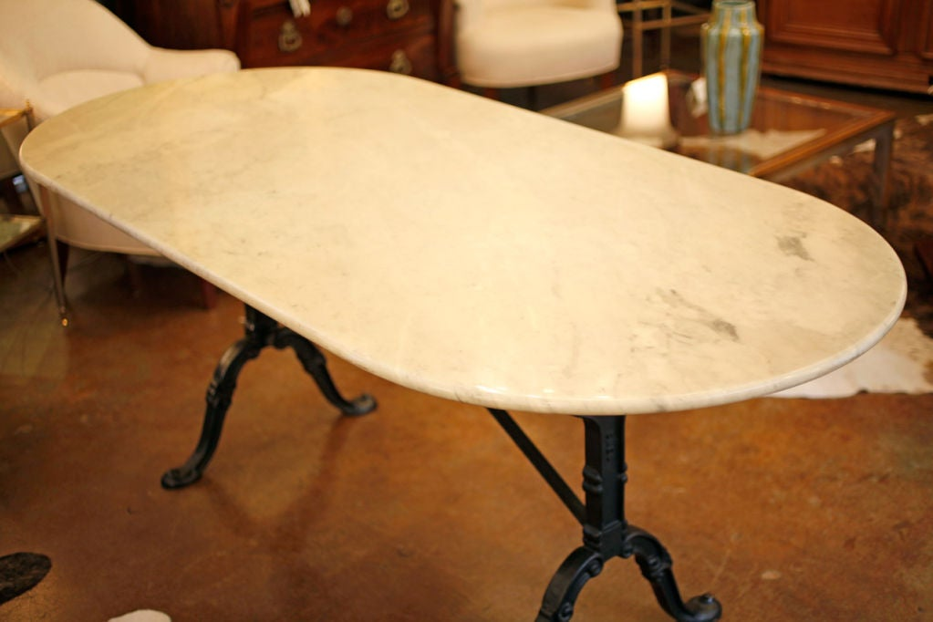 Cast Iron And Carrara Marble Top Bistro Table At 1stdibs