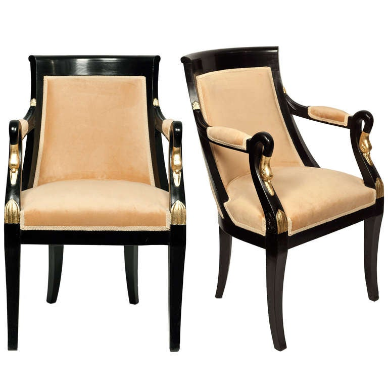 Antique Swan Detail French Empire Armchairs For