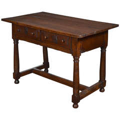 French 17th Century Solid Walnut Writing Table