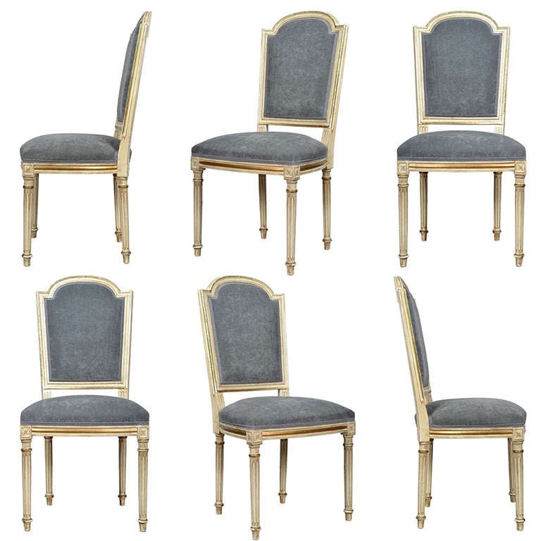 French Louis XVI Set Of Six Dining Chairs At 1stdibs