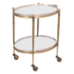 French Vintage Brass and Glass Oval Bar Cart