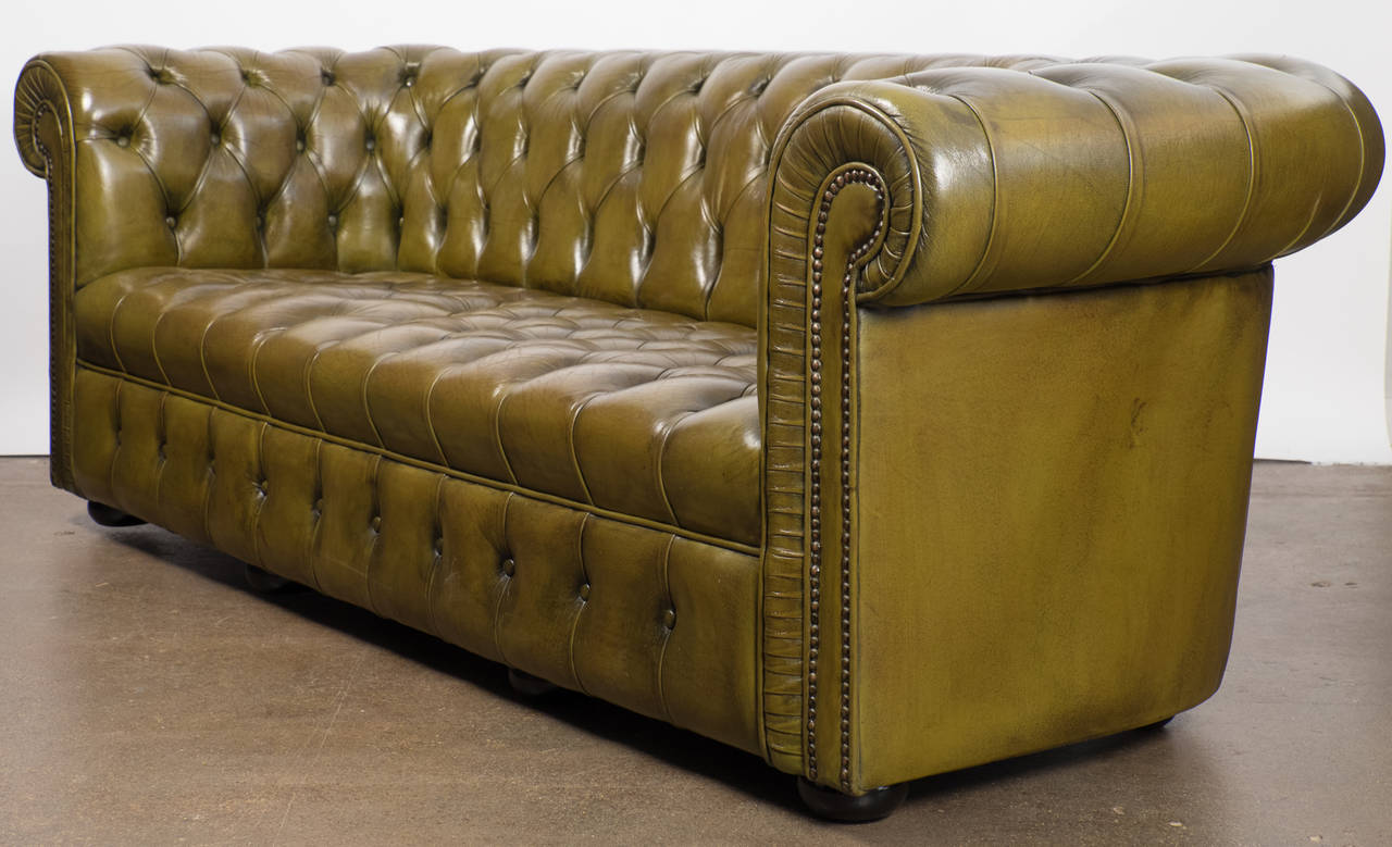 English Vintage Green Leather Chesterfield Sofa For Sale