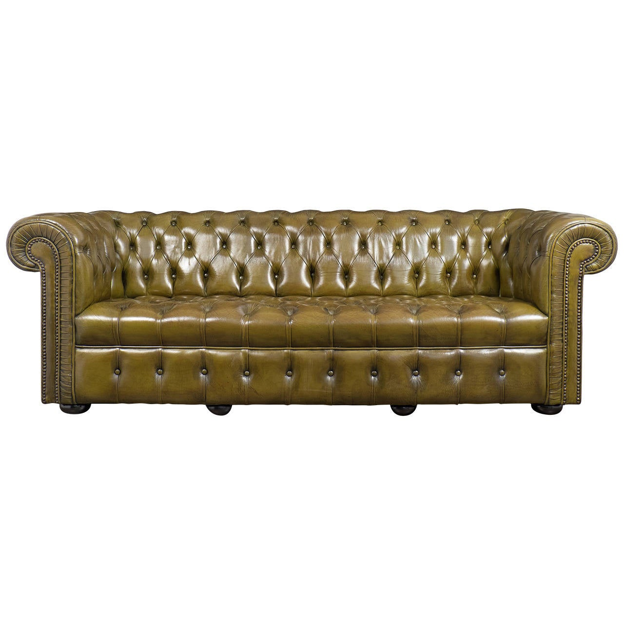 Vintage Green Leather Chesterfield Sofa at 1stdibs